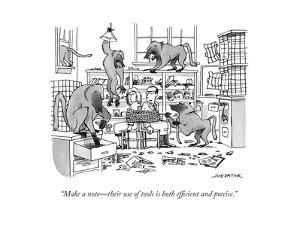 """Make a note—their use of tools is both efficient and precise."" - New Yorker Cartoon by Joe Dator"