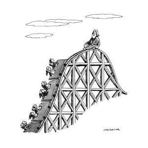 The guru sits at the peak of a roller coaster track.  - New Yorker Cartoon by Joe Dator