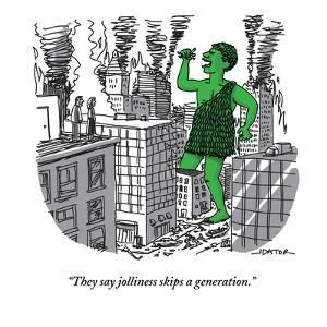 """They say jolliness skips a generation."" - New Yorker Cartoon by Joe Dator"