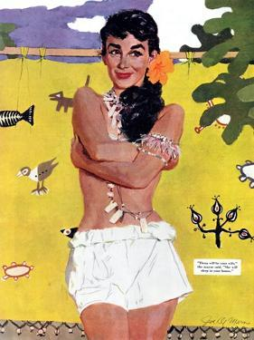 """The Exile of Paradise Island  - Saturday Evening Post """"Leading Ladies"""", September 4, 1954 pg.29 by Joe de Mers"""