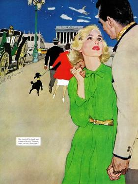 """Fugitive From Romance - Saturday Evening Post """"Leading Ladies"""", April 6, 1957 pg.35 by Joe deMers"""