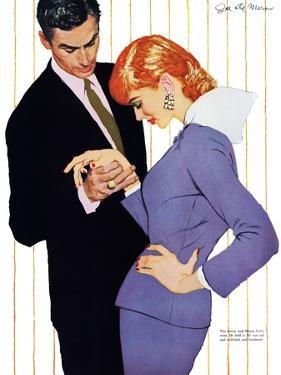 """I Love You, Mama Girl - Saturday Evening Post """"Men at the Top"""", March 31, 1956 pg.25 by Joe deMers"""