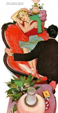 "Lonely Honeymoon  - Saturday Evening Post ""Leading Ladies"", March 11, 1950 pg.28 by Joe deMers"