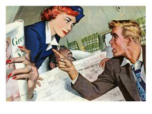 """The Passenger Hated Redheads  - Saturday Evening Post """"Leading Ladies"""", August 13, 1949 pg.24 by Joe deMers"""