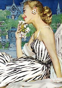 """Walk to the Dance - Saturday Evening Post """"Leading Ladies"""", October 5, 1957 pg.37 by Joe deMers"""