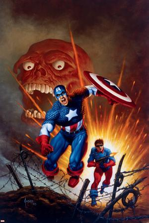 Captain America No.8 Cover: Captain America, Bucky and Red Skull Swimming by Joe Jusko