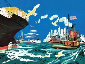 Tugboat and Seagulls - Jack & Jill by Joe Krush