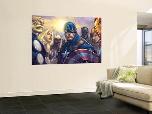 Ultimates 3 No.5 Cover: Captain America, Hawkeye, Black Panther, Iron Man, Wasp, Thor and Sif by Joe Madureira