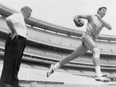 Joe Namath, New York Jets Quarterback, Tests His Injured Knee, 1965