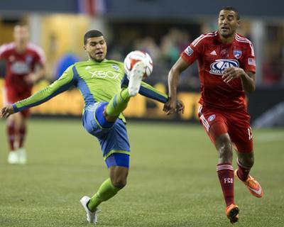 2014 MLS Playoffs: Nov 10, FC Dallas vs Seattle Sounders - Tesho Akindele, DeAndre Yedlin by Joe Nicholson