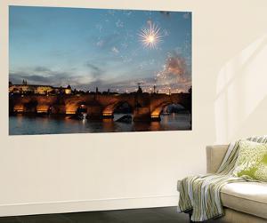 Fireworks over the Charles Bridge, a Historic Bridge over the Vltava River by Joe Petersburger