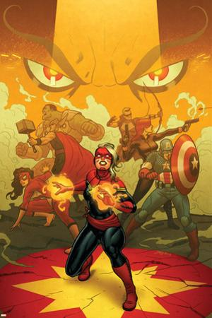 Captain Marvel #13 Cover: Captain Marvel, Spider Woman, Thor, Hulk, Black Widow, Captain America by Joe Quinones