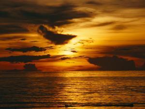 Sunset over Pacific Ocean, Yap Islands, Caroline Islands, Micronesia by Joe Stancampiano