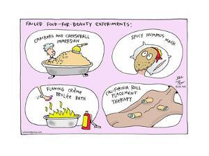 Failed Food-for-Beauty Experiments:  Crackers and Cheeseball Immersion.  Spicy Hummus Mask… by Joel Pett