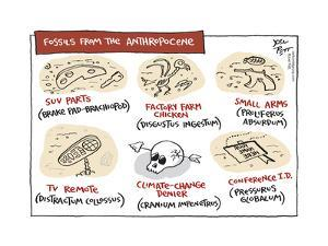 Fossils from the Anthropocene.  SUV parts (Brake Pad-brachiopod).  Factory farm fish, ETC… by Joel Pett