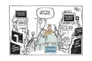 Insurance ripoffs. Big pharma larceny…For-profit hospital ripoffs… Just pull the plug. by Joel Pett