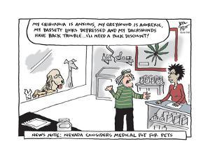 My Chihuahua is anxious, my Greyhound is anorexic, my Bassett looks depressed and my Dachshund… by Joel Pett
