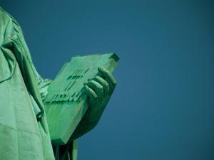 A Close View of the Book Held by the Statue of Liberty by Joel Sartore