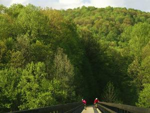 Cyclists Cross a Bridge on the Youghiogheny River Trail by Joel Sartore