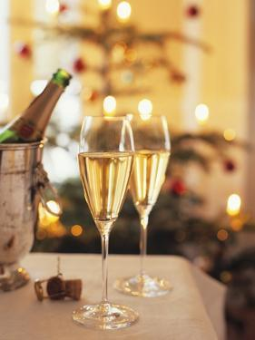 Two Glasses of Sparkling Wine for Christmas Party by Joerg Lehmann