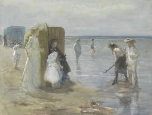 Beach of Scheveningen, with Two Ladies and Children, by Johan Antonie De Jonge, C. 1890-1920 by Johan Antonie de Jonge