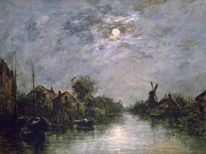 Dutch Channel in the Moonlight, C1840-1891 by Johan Barthold Jongkind