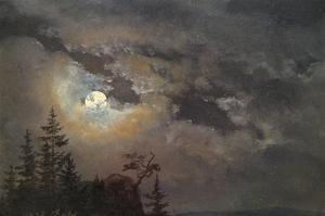 A Cloud and Landscape Study by Moonlight by Johan Christian Clausen Dahl
