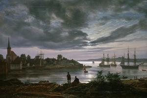 Larvik by Moonlight by Johan Christian Clausen Dahl