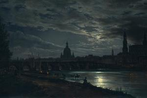 View of Dresden by Moonlight, 1839 by Johan Christian Clausen Dahl