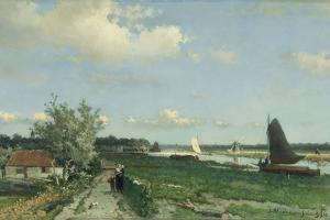 Geestbrug River Landscape by Johan Hendrik Weissenbruch
