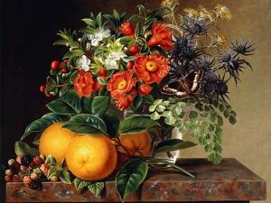 Oranges, Blackberries and a Vase of Flowers on a Ledge, 1834 by Johan Laurents Jensen