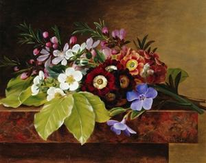 A Bouquet of Apple and Cherry Blossoms, and Primula by Johan Laurentz Jensen