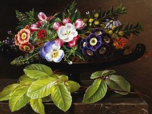 Apple Blossoms, Primula, Heather, and Yellow Acacia by Johan Laurentz Jensen