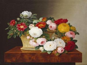 Still Life of Roses in a Basket on a Ledge by Johan Laurentz Jensen