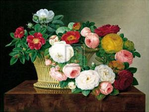 Still Life with Roses in a Basket by Johan Laurentz Jensen