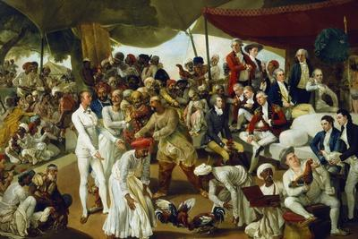 Colonel Mordaunt Watching a Cock Fight at Lucknow, India, 1790