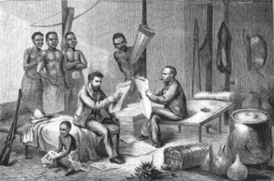 Dr. David Livingstone and Mr. Henry Morton Stanley Receiving Newspapers in Central Africa