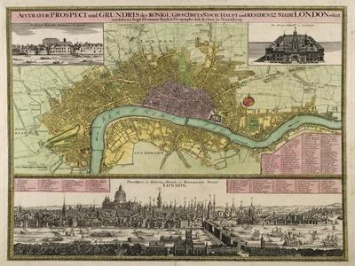 Map and Prospect of London, C.1710