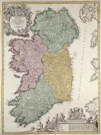 Map of Ireland, Provinces of Ulster, Munster, Connaught and Leinster, by Johann B. Homann, c.1730
