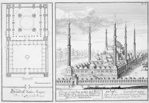 Plan and View of the Blue Mosque by Johann Bernhard Fischer Von Erlach