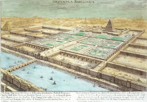 View of Ancient Babylon, Plate 3, Entwurf Einer Historischen Architektur, Engraved Delsenbach by Johann Bernhard Fischer Von Erlach