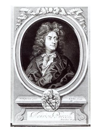 Portrait of Henry Purcell (1659-95), English Composer, Engraved by R. White, 1695 (Engraving)