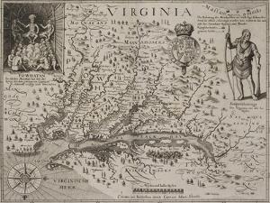 A Map Of Virginia by Johann De Bry