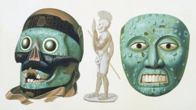 Skull Mask of the God Tezcatlipoca and Mask Representing the God Quetzalcoatl or Tonatiuh, c.1500