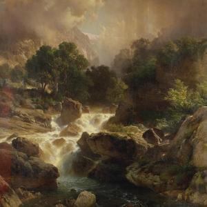 Landscape with Waterfall, 1861 by Johann Gottfried Steffan