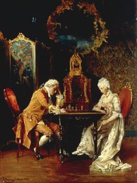 The Chess Game, 1881 by Johann Hamza