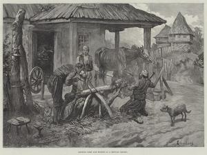 Shoeing Oxen and Horses at a Servian Smithy by Johann Nepomuk Schonberg