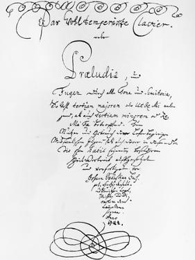 Handwritten Titlepage of the Well Tempered Piano, 1722 by Johann Sebastian Bach