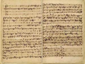 Pages from Score of the 'st. Matthew Passion', 1727 by Johann Sebastian Bach