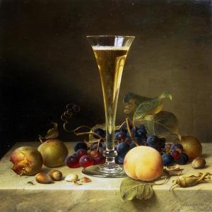 Still Life with a Glass of Champagne, 1855 by Johann Wilhelm Preyer